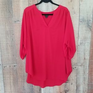 Worthington Red 3/4 Sleeve V-Neck Blouse Size 2X